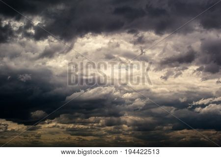 dark Black clouds are born storm in the sky