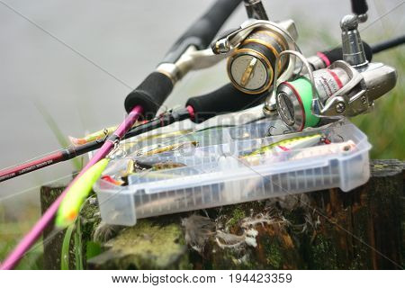 Moscow - September, 2016: fishing on spinning, equipment spinning reel for fishing predator, tackle and bait