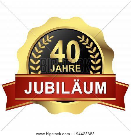 Button 40 Years Jubilee (in German)