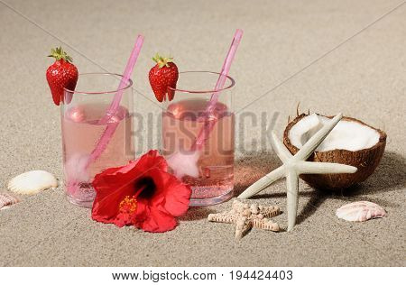 two cocktails with strawberry