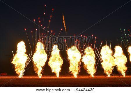 TUZLA,ROMANIA - JULY 02 : pilots performing at Tuzla airshow Aeromania on July 02, 2016 in Tuzla, Romania, the final fireworks show