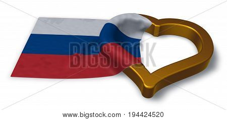 russian flag and heart symbol - 3d rendering