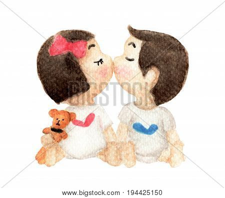 Watercolor painting of Cute girl and boy kissing. kids kissing and teddy bear isolated on white background. Friendly romantic. Valentine's Day. Love card.