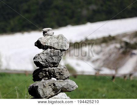 Heap Of Stones As A Religious Symbol And Prayer In The Mountains