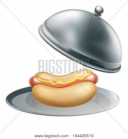 A hot dog sausage in a bread bun on a silver platter serving tray