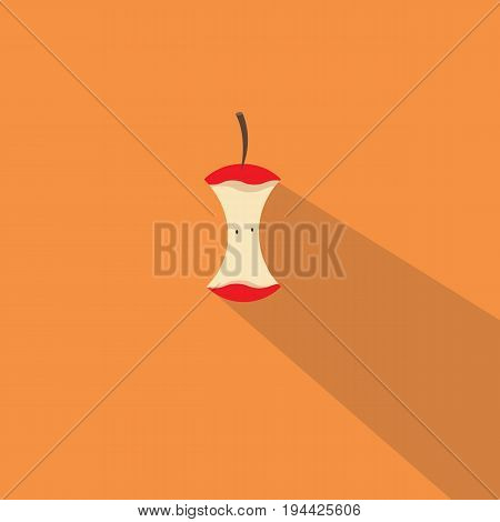 Red apple bitten with long shadow vector