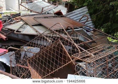 Municipal Dump Of Ferrous Materials In The Recycler For The Coll