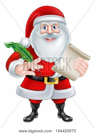 Cartoon Santa Claus with his Christmas list scroll or letter holding a quill pen