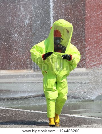 Yellow Protective Suit Against Chemical And Bacteriological Agen