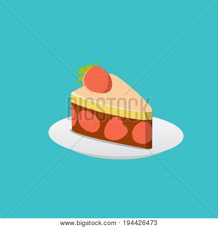 Strawberry cake with chocolate cream and strawberry topping on plate illustration.Cake isolate white background