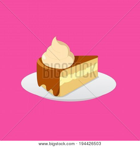 Cake chocolate and cream on plate with cream topping and isolate white background illustration