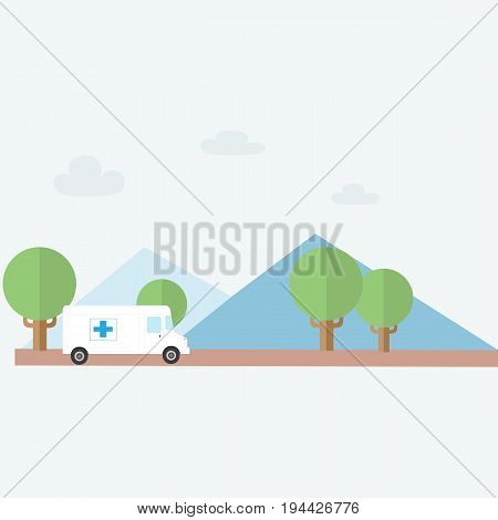 Ambulance rescue to Country with nature background