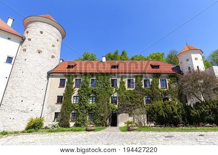 14th century defense Castle Pieskowa Skala castle outbuilding near Krakow Poland. Located in Ojcowski National Park is one of the best-known examples of a defensive Polish Renaissance architecture