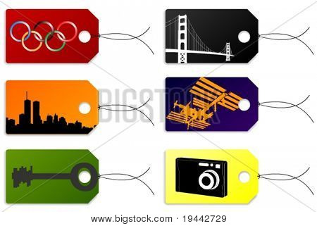 Tags + Labels with photo, ISS, Spacestation, New York, Key, Bridge, Olymic Games Logo.