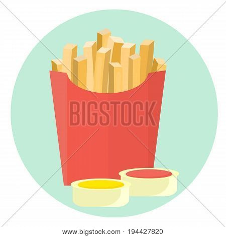 Flat vector french fries potato in red box with ketchup and mustard sauce in dipping dish. Tasty cartoon colorful take away fastfood symbol