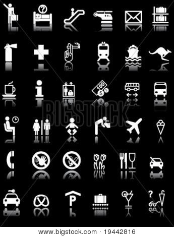 Airport and Hotel Signs Symbols in Black light