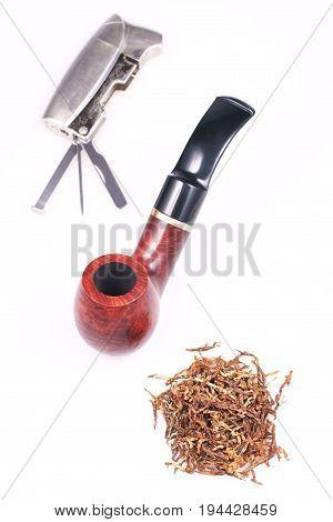 Pipe tobacco cigarette lighter on a white background