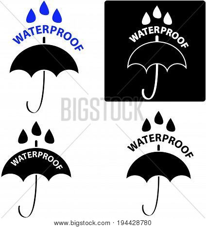 Set of water proof icon on white background.Vector illustration.
