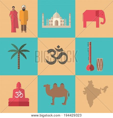 Traditional symbols of India. Flat icon. Vector sign for web graphic