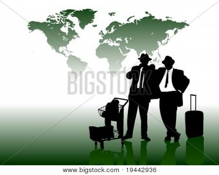 Business Man in front of World Map