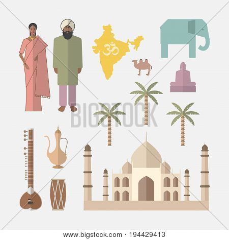 Symbols of India. Flat icon. Vector sign for web graphic