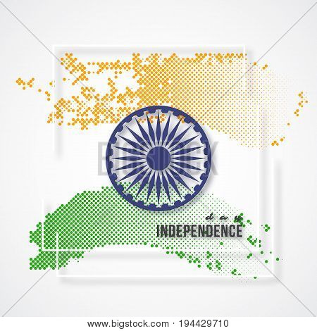 Indian Independence day holiday background. 3d wheel with white frame and halftone effect in traditional tricolor of indian flag. Vector illustration.