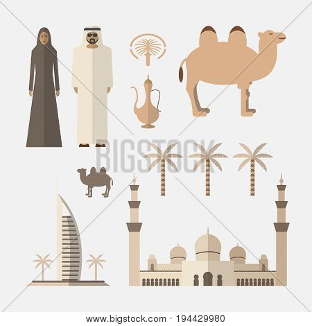 United Arab Emirates Flat Icons Design. Arabic icons. Vector sign for web graphic