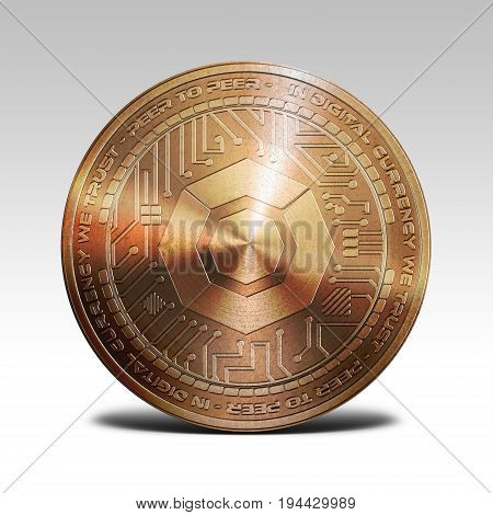 copper komodo coin isolated on white background 3d rendering illustration
