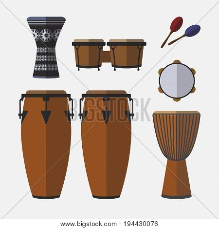Set of percussion instruments. Flat icon. Vector sign for web graphic