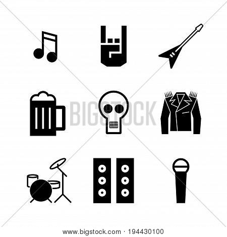 Rock and roll music icons. Music festival. Vector sign for web graphic