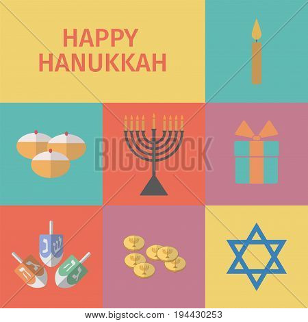 Hanukkah icons set. Jewish Holiday. Vector sign for web graphic