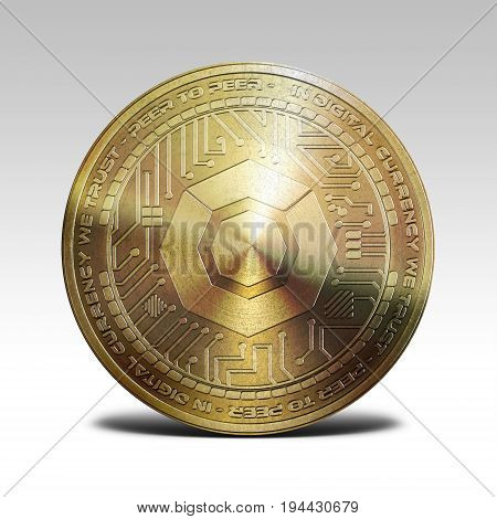 golden komodo coin isolated on white background 3d rendering illustration