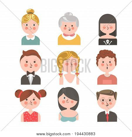 People of various ages portraits collection isolated on white. Vector colorful poster of senior and young men and women demonstrating emotions of pleasure and happiness or disagreement in flat design