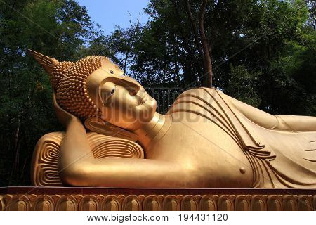 big Reclining Buddha statue in a forest temple, Thailand