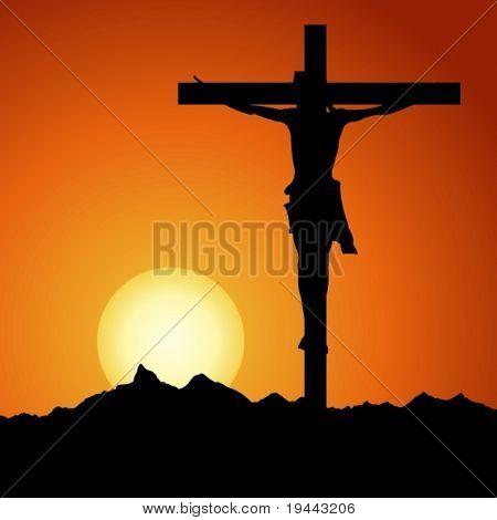 Jesus Christ crucified in vector art