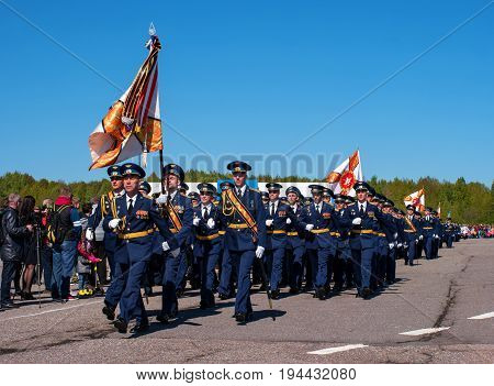 Pushkin Russia - June 5 2017: A solemn parade dedicated to the 75th anniversary of the 6th Army. The air force officers march. In the foreground is the standard-bearer.