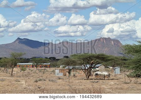 Village and houses of the f Samburu tribe in Kenya