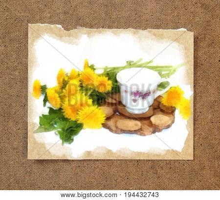A bouquet of fresh dandelions yellow hats near tea pair from a saucer cup of Old porcelain service on a juniper stand. watercolor still life on paper with a torn edge in the passepartout