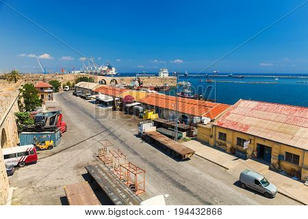 FAMAGUSTA (Gazimagusa) NORTHERN CYPRUS - MAY 24 2014: View on the Famagusta Port from The Old town wall of Famagusta (Gazimagusa)