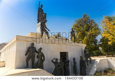 NICOSIA CYPRUS - MAY 30 2014 : View on The Liberty Monument is a monument in the city of Nicosia in Cyprus.