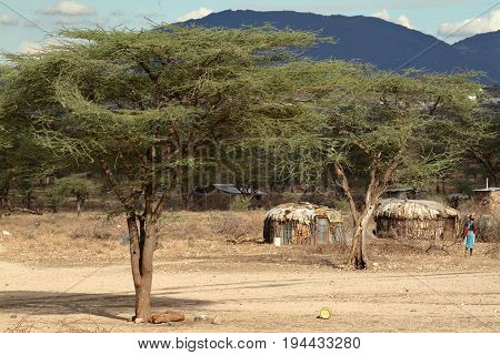 Village and houses of the Samburu tribe in Kenya