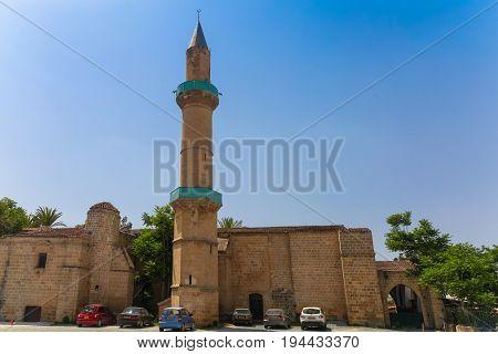 NICOSIA NORTHERN CYPRUS - MAY 30 2014: View on the Taht el Kale Mosque in Nicosia