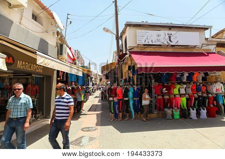NICOSIA NORTHERN CYPRUS- MAY 30 2014 : View on local market and small shops in Nicosia