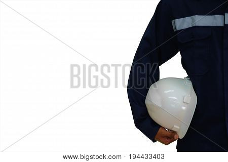 Engineer holding a white security helmet isolated on the white background, industrial concept