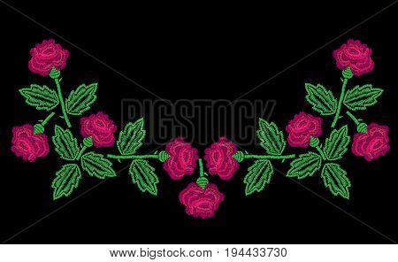 Embroidery stitches imitation neck line pattern with little roses. Fashion embroidery rose on black background. Embroidery flower vector.