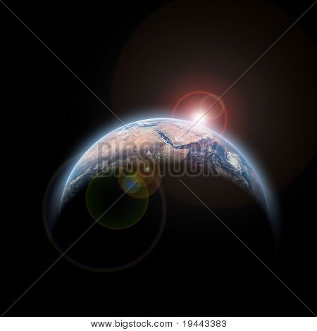 sun rise and planet earth isolated on black