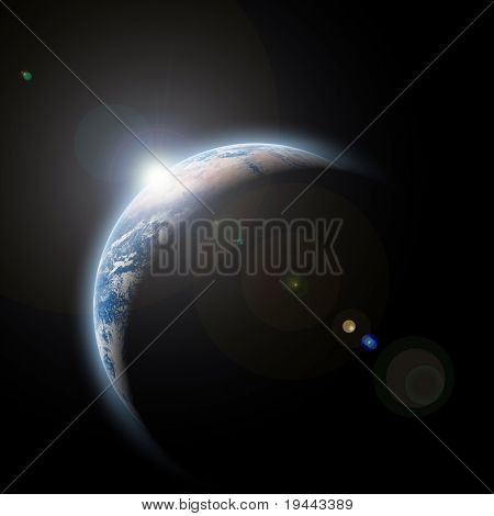 planet earth with sunrize in space