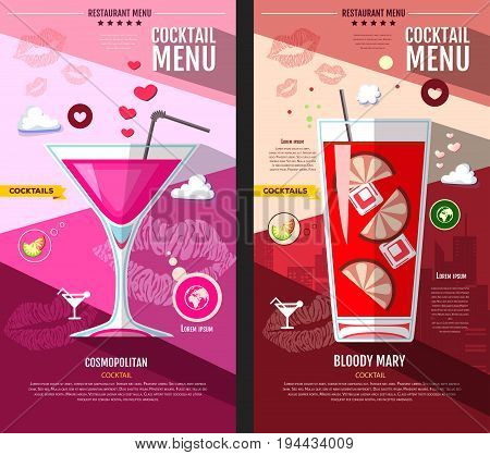Flat style cocktail menu design. Cosmopolitan and bloody mary