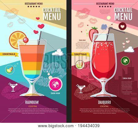 Flat style cocktail menu design. Daiquiri and rainbow cocktail