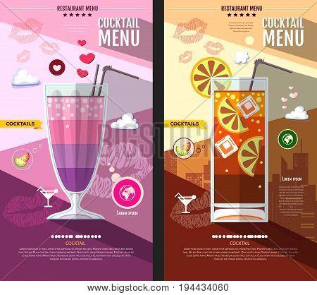 Flat style cocktail menu design. Milkshake and long island ice tea